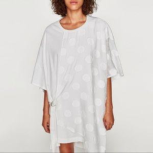 NWT Zara White Asymmetric Polka Dot T Shirt Dress